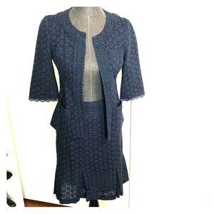 Nanette Lepore Blue Skirt Suit Jacket Set Lace